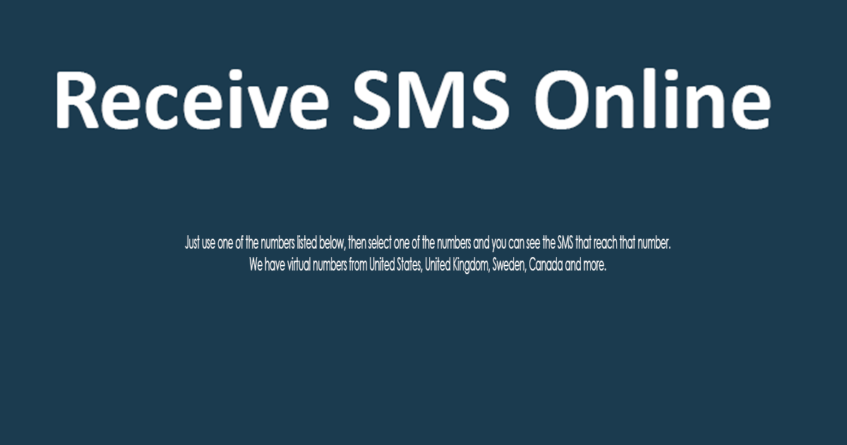 Receive SMS Online | Free SMS | SMS Online
